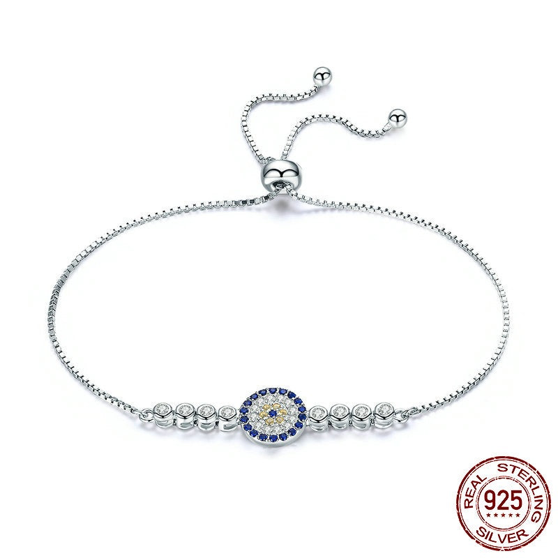 Women's Simple yet Elegant Adjustable Link Chain Bracelet Crafted from Platinum Plated Silver and Diamonds and Sapphire like Crystals