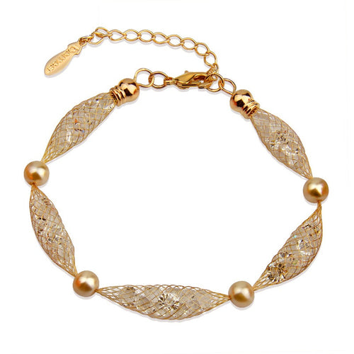 Designer Gold Plated Fashion Bracelets with Golden Mesh, filled with Sparkling Crystals