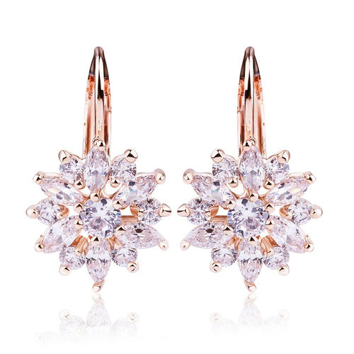 3 Colors Luxury Gold Color Flower Stud Earrings with Zirconia Crystals