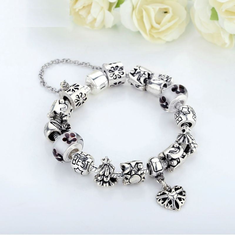 Luxury Silver Charm Bracelet for Women With High Quality Murano Glass Beads