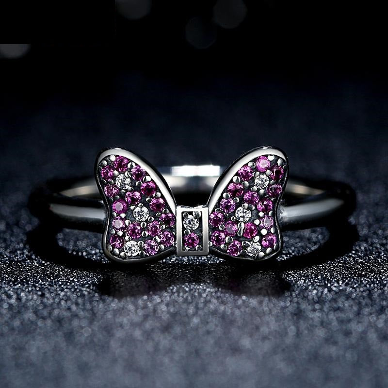 Minnie's Sparkling Bow Finger Ring with Purple and Clear CZ and 100% 925 Sterling Silver