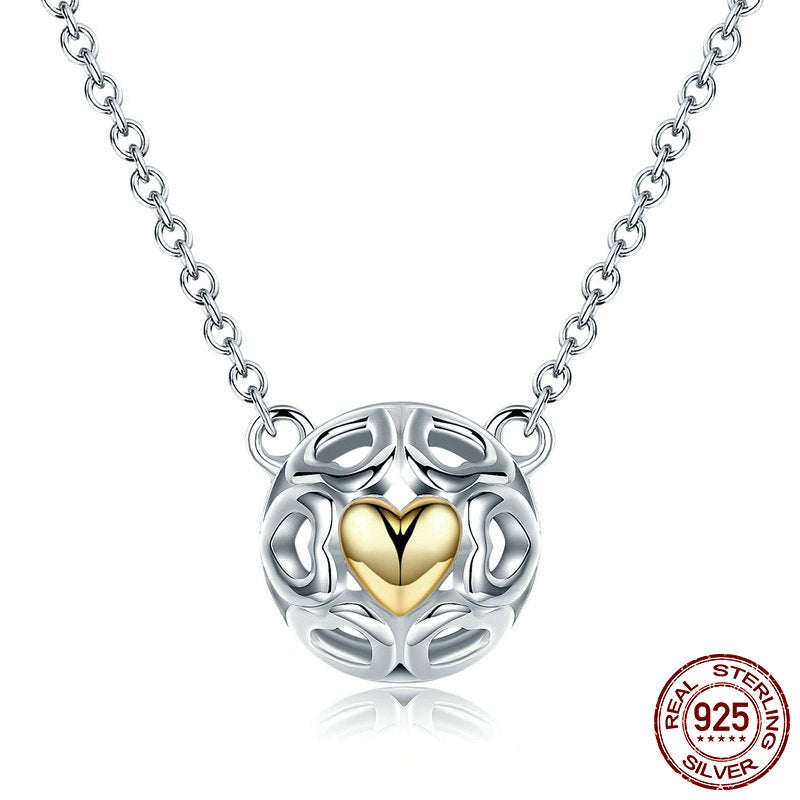 Designer Fashion Pendant Necklace with Gorgeous Sphere of Silver Hearts with one Gold plated Heart Pendant