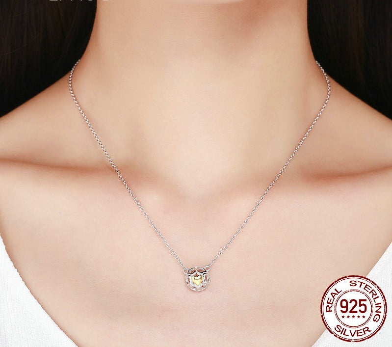 Designer Fashion Necklace with Gorgeous Sphere of Silver Hearts with one Gold plated Heart Pendant