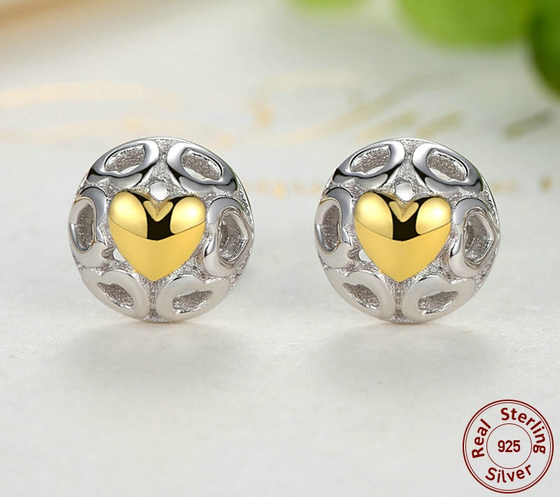 The Romantic Luxury - Earrings with a Golden Heart in the Center of 6 Hollowed out Heart - All Silver