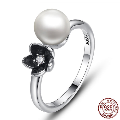 Cute Black Flower and Pearl Ring for Women  Crafted from Authentic Silver
