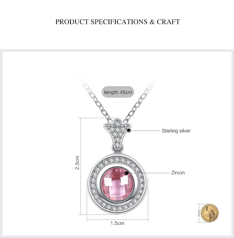 2-in-1 Platinum Plated Genuine Silver Necklace with Pink & Diamonds like Clear Crystal Pendant