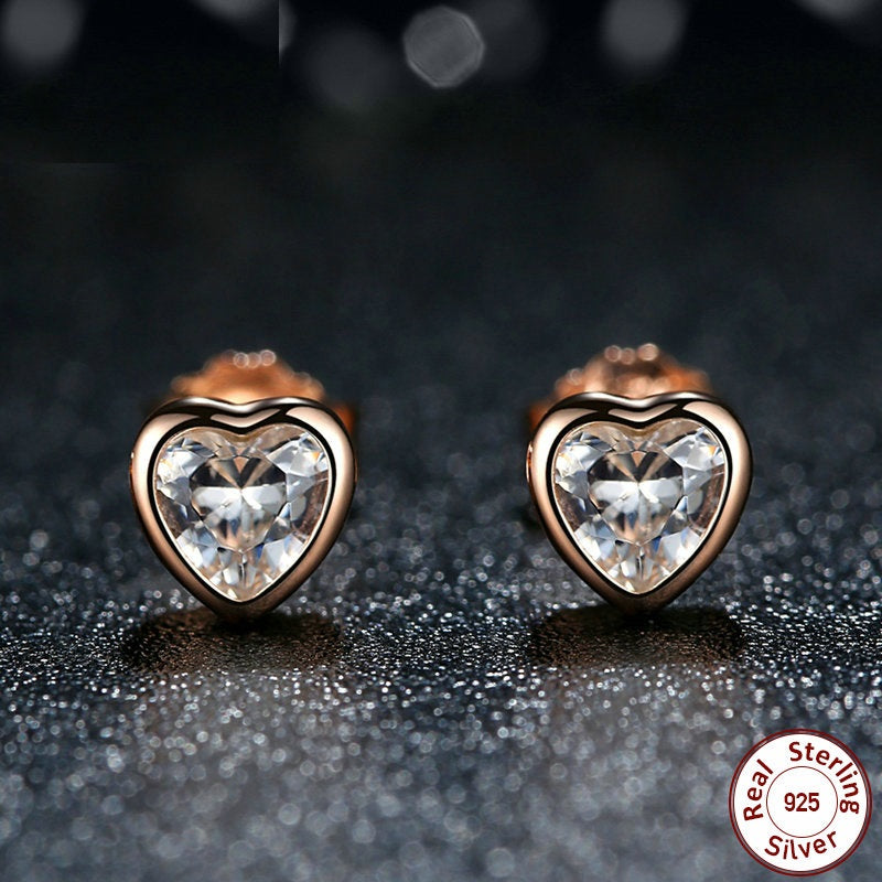 Diamond Love - Elegant Stud earrings Crafted from Gold Plated Silver and Crystals