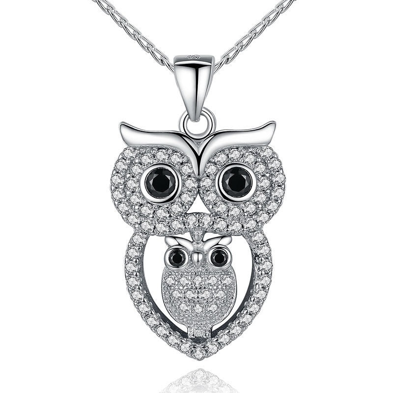 White Gold Plated Mother and Baby Owl Pendant Necklace for Women
