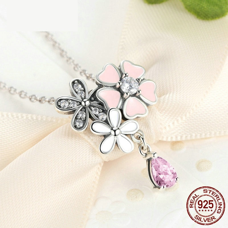 Cute Cherry Blossom Flower Pendant Necklace Crafted from Silver and Crystals