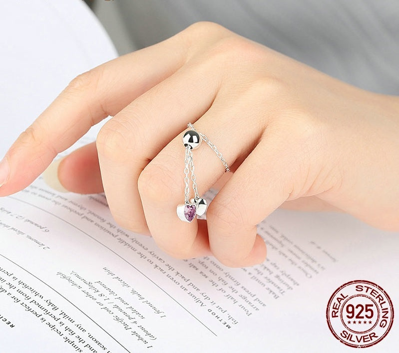 Classic Design Adjustable Cute Silver Finer Ring with Silver and Pink Crystal Hearts Pendants