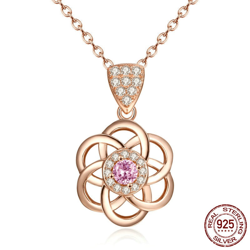 Gorgeous Pendant Necklace Crafted from Gold Plated Silver and Diamond and Pink Garnet like Crystals
