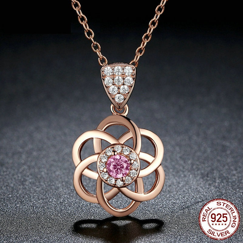 Elegance of Diamonds and Pink Garnet - Gorgeous Pendant Necklace Crafted from Gold Plated Silver and Elegant Crystals