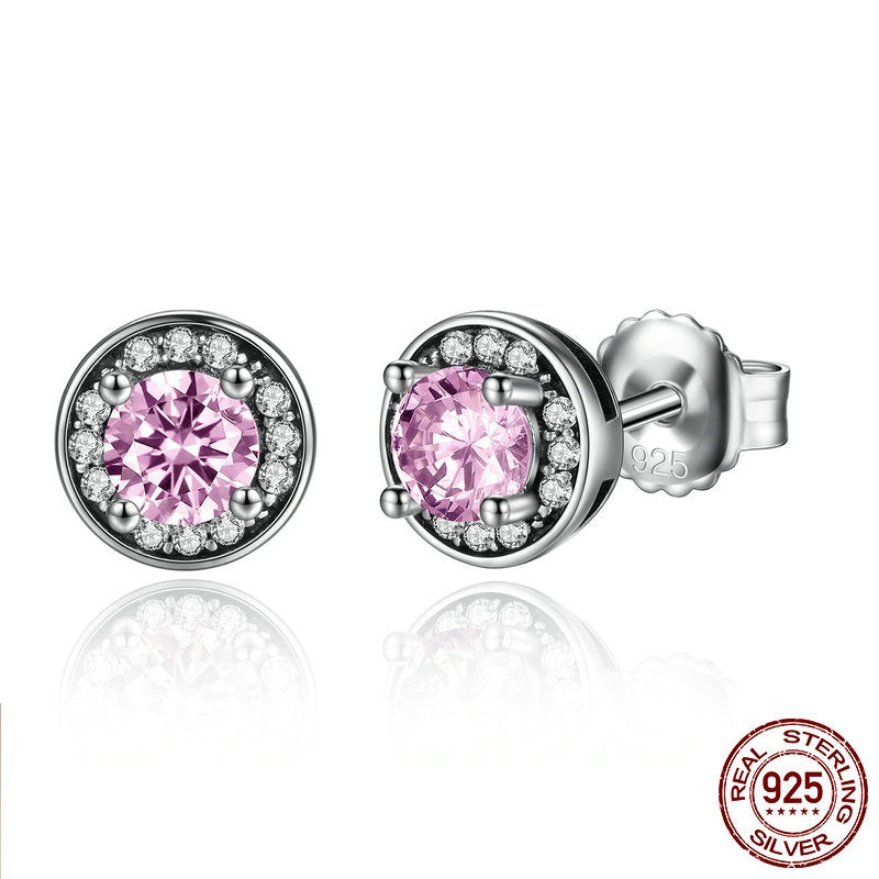 Stunning Earrings for Women Crafted from Silver and  Pink & Clear Crystals