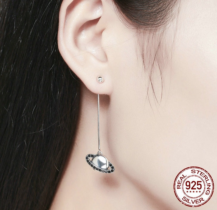"Designer 2-in-1 ""Star & Planets"" Long Drop Earrings Crafted from Silver and Crystals - Wearable as Stud Earrings also"