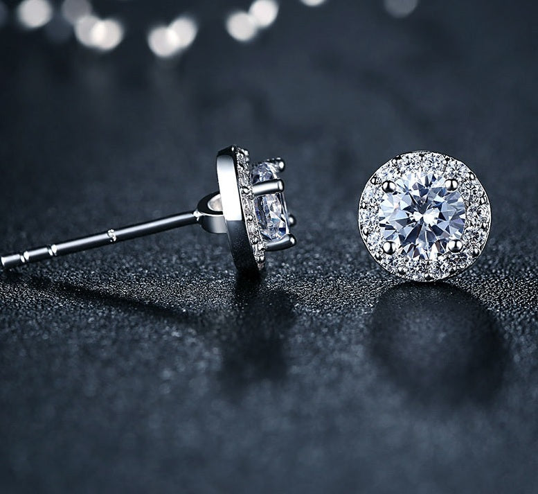 Elegance of Diamonds - Gorgeous Platinum Plated Stud Earrings with One Big Crystal Surrounded by Small Diamonds like Crystals and Crafted from Silver
