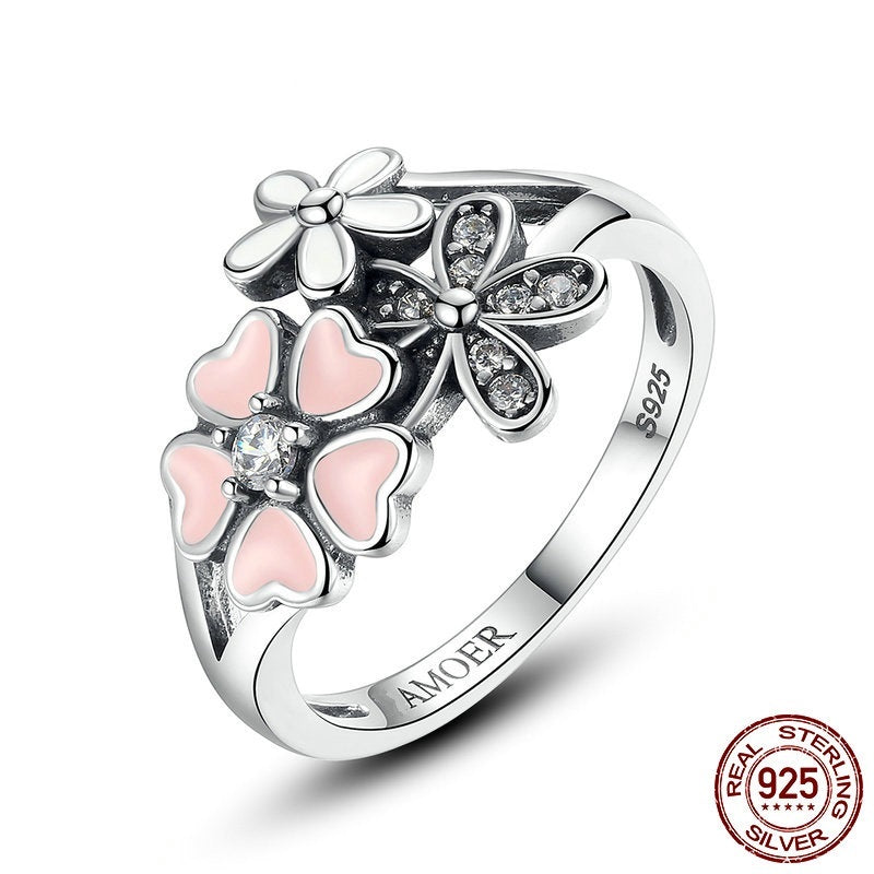 Beauty of Flowers - Cute Finger Ring Crafted from Silver and Paved with Crystals