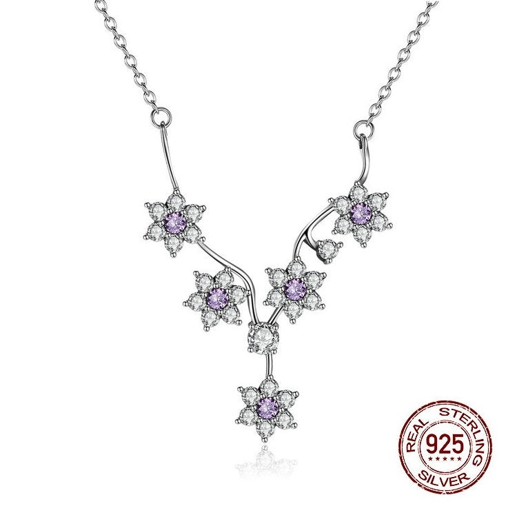925 Sterling Silver-  Purple CZ Flowers Pendant Chain Necklace