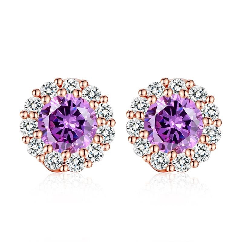 Touch of Purple Saffire - Wear the Elegance of Colors with this Gold Plated Earrings