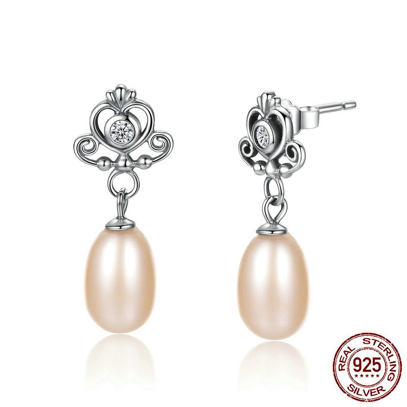 Sweetness of Freshwater Pearls and Elegance of the Crown with Heart and Crystals - Earrings crafted from Silver