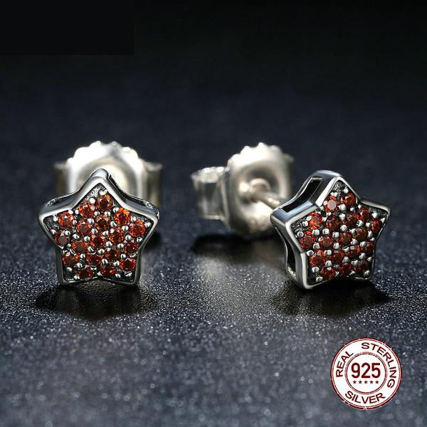 Richness of Rubies Paved Star - Stud earrings Crafted from Silver and Crystals