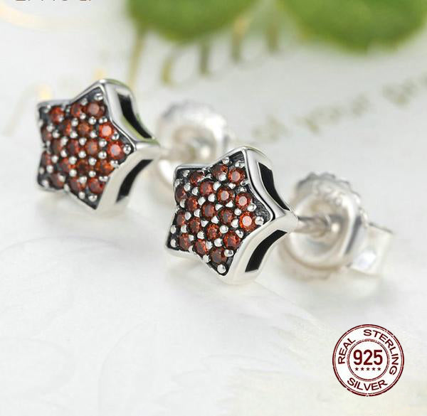 100% 925 Sterling Silver Red Shinning Star Stud Earrings for Women, paved with CZ Crystals