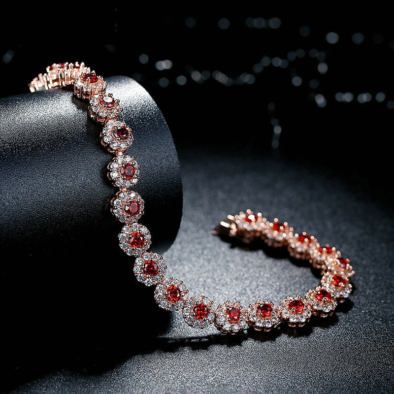 Gorgeous Gold Plated Bracelets Paved with Brilliant Red Crystals