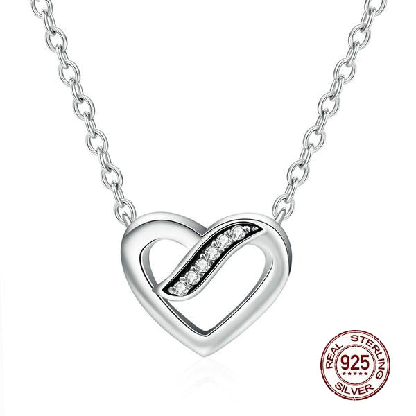 Cute Heart Shaped Pendant Necklace Crafted with Silver and Crystals