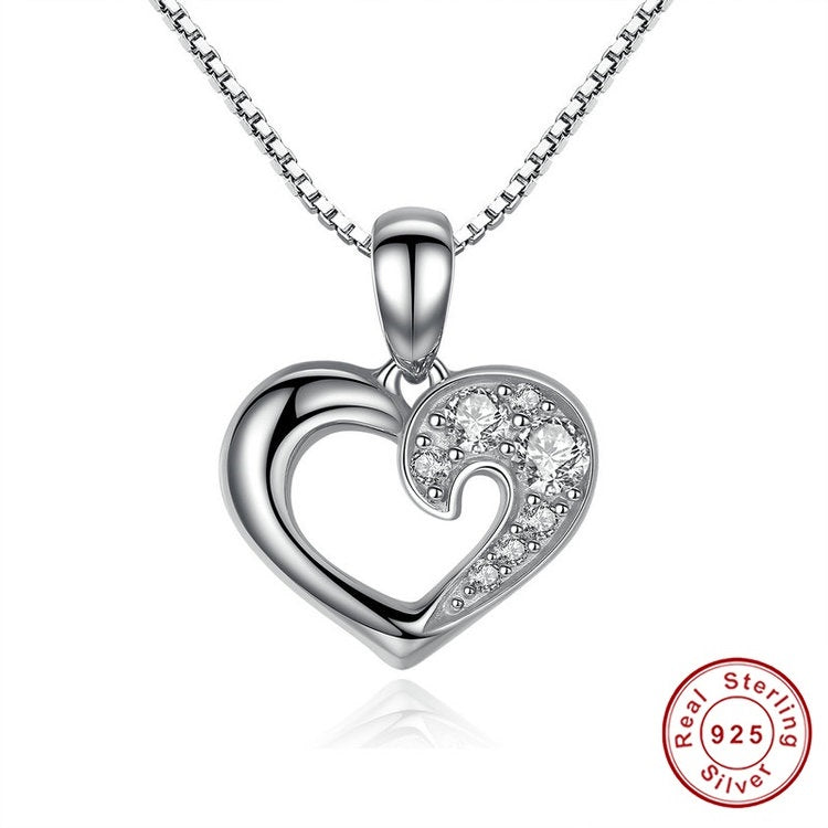 Women's Necklace with a Stunning Heart Pendant Paved with Diamonds like Crystals