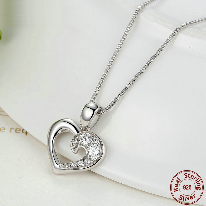 Romantic Heart Pendant Necklace paved with Diamond Like Crystals