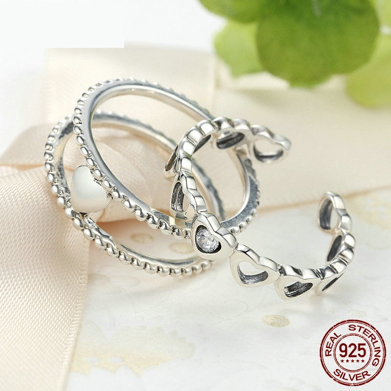 A 3-in-1 Romantic Finger Ring Set for Women Crafted from Silver - Wear as One or Wear 3 Different Rings