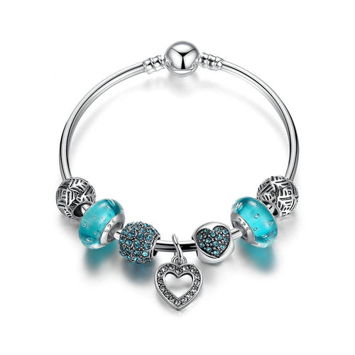 Women's Lovely Bracelet in Cool Blue Beads and with  Sparkling Heart Pendant