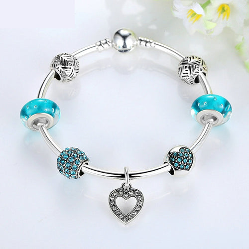 Women's Elegant and Lovely Charm Bracelet in Cool Blue Beads and with  Heart Pendant