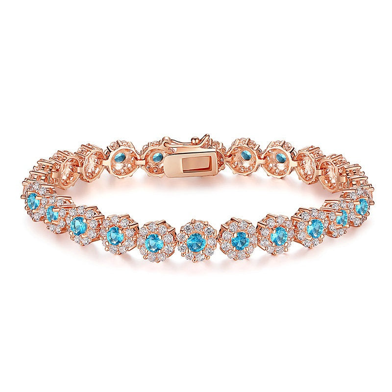 Elegance of Diamonds and Aquamarine - Gorgeous Gold Plated Bracelets Paved with Brilliant Crystals