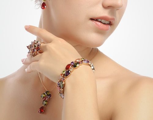 Gorgeously Colorful - Gold Placed Bracelet with Colorful Lovely Crystals