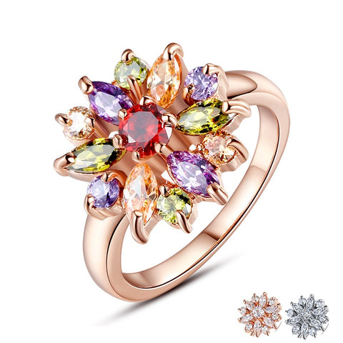High Quality  Gold Color Finger Ring for Women with AAA Colorful Cubic Zirconia Crystals