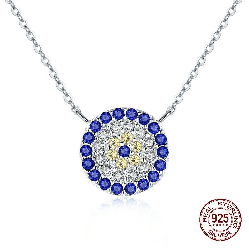 Women's Gorgeous Silver Round Pendant Necklace with Blue, Golden and Clear Crystals