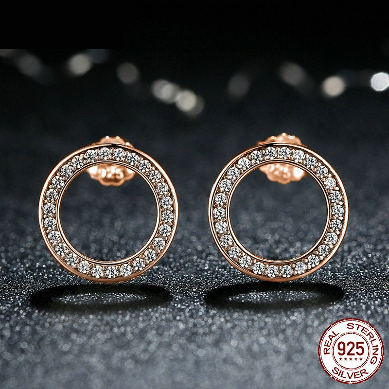 Elegance in Simplicity - Luxury of Diamond in these Hoop Earrings Crafted from Gold Plated Silver and Crystals
