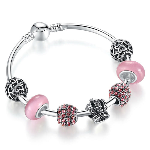 Women's Charm Bracelets with Cuteness of Pink, Energy or Red and Power of the Crown