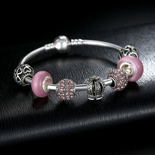 Women's Charm Bracelets Pink and Red Beads and queen's crown