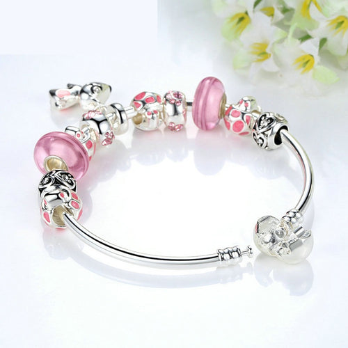 Women's Elegant and Lovely Charm Bracelet in Pink Color and with a Cute dog Pendant