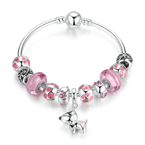 Women's Lovely Bracelet in Pink Color and with a Cute Puppy Pendant