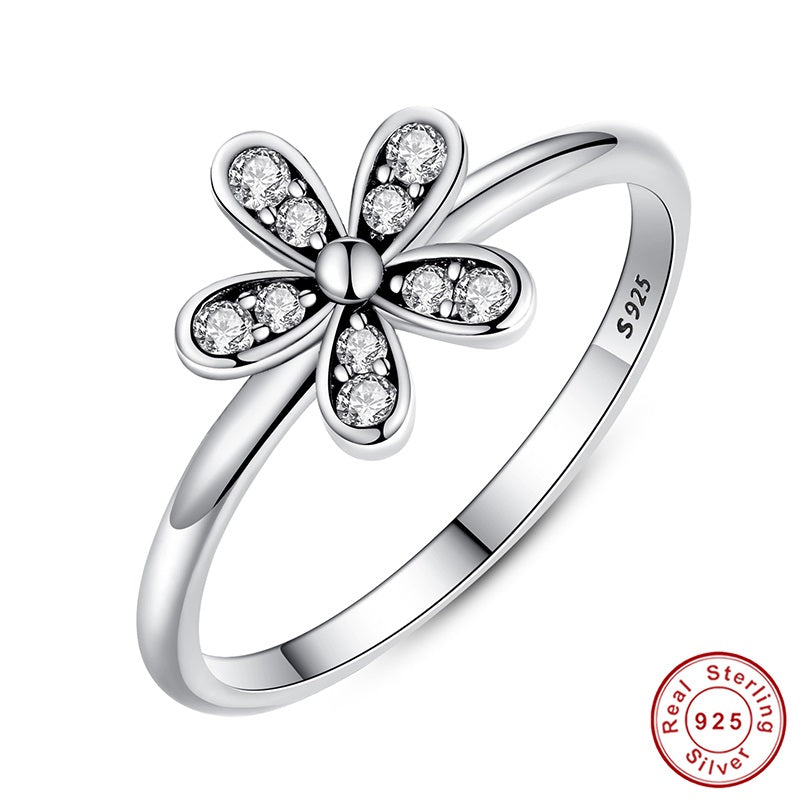 Elegant Finger Ring Crafted from Pure Silver with a Flower Paved with Crystals - Option of Gold Plating