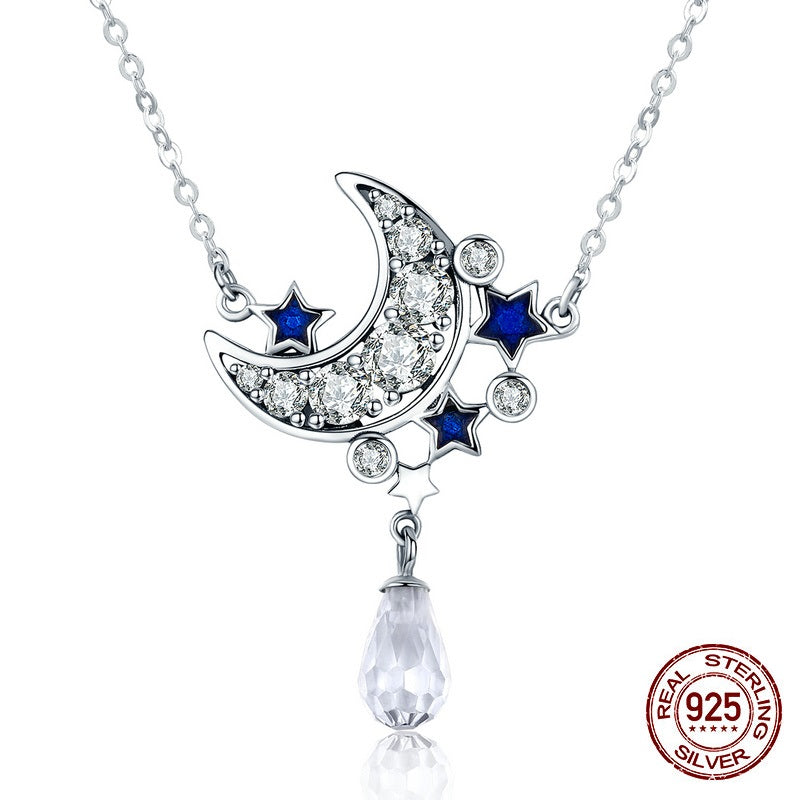 Cute & Gorgeous Moon and Starts Pendant Necklaces for Women with Diamonds like Crystals
