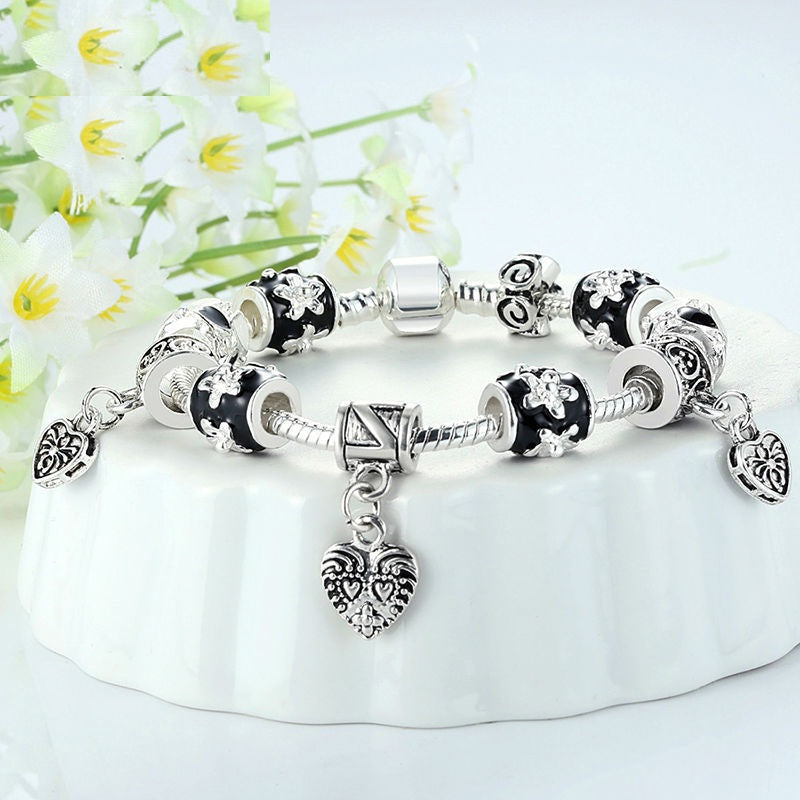 Women's Silver Plated Charm Bracelet with Black & Silver Heart Beads