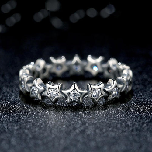 Sparkling Shining Silver Stars Ring Paved with Clear Crystals