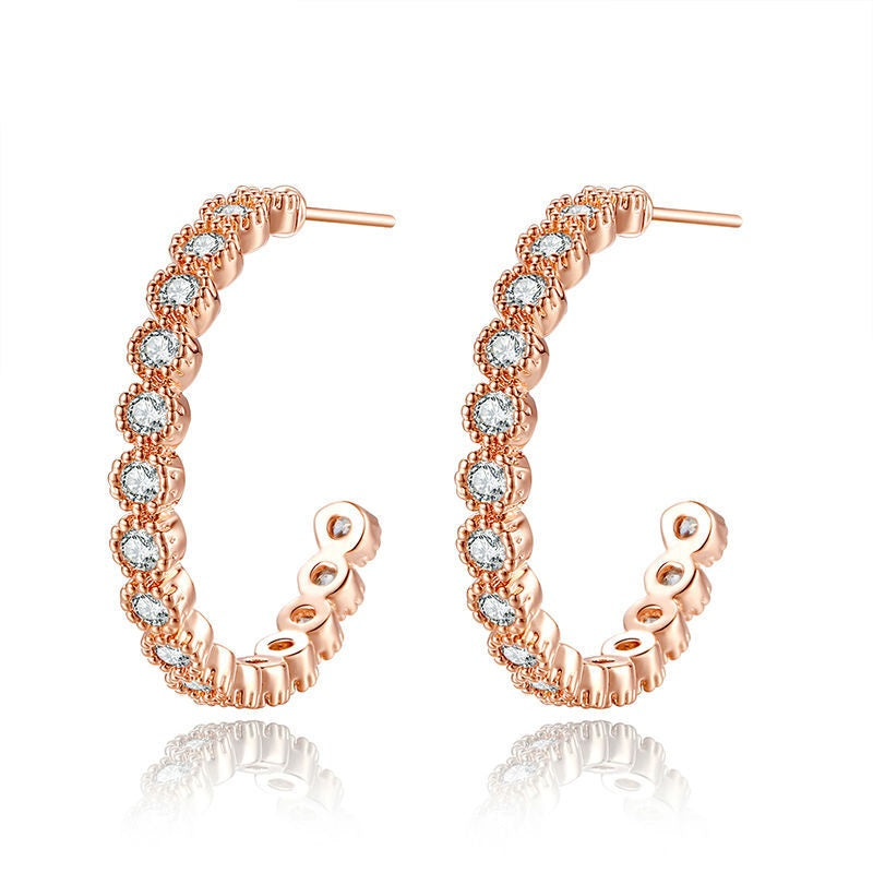 Luxury of diamonds - Gorgeous Eye Catching Gold Plated Hoop Earrings with Crystals