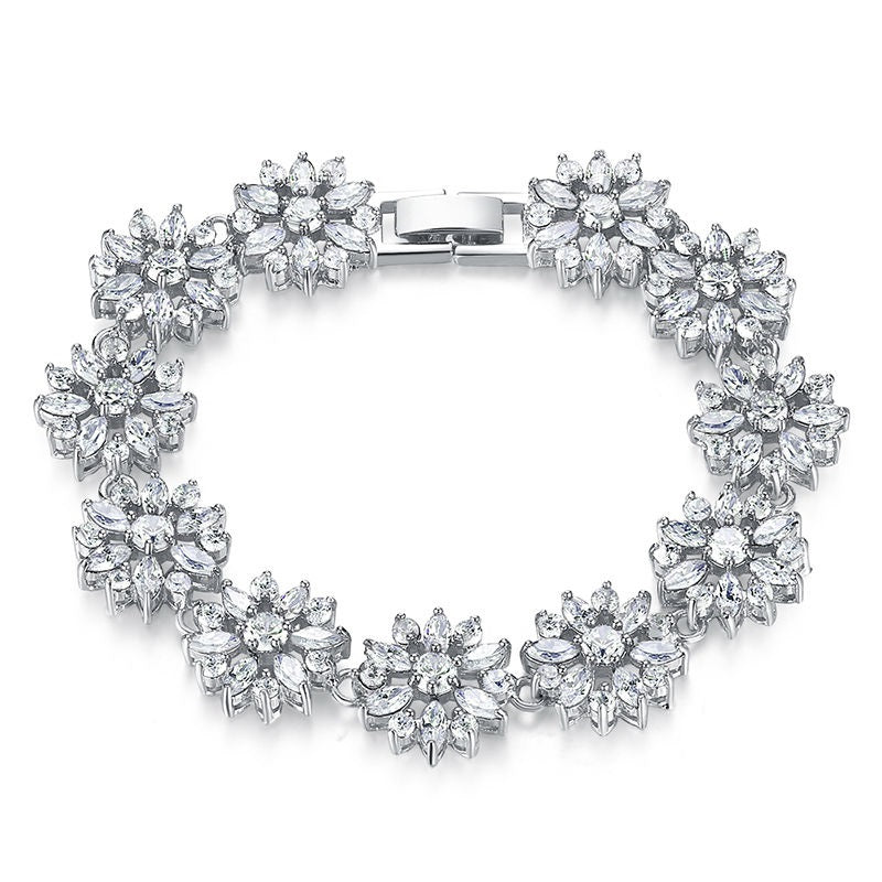 Women's Gorgeous White Gold Plated Bracelet Paved with Elegant Clear Crystals
