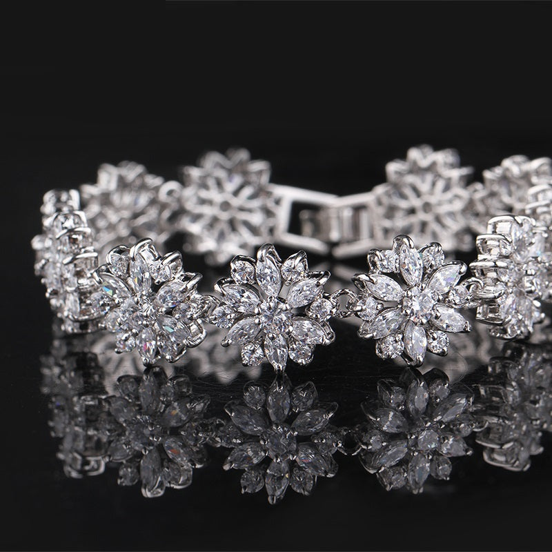 Cool like Snow - Women's Gorgeous White Gold Plated Bracelet Paved with Elegant Clear Crystals