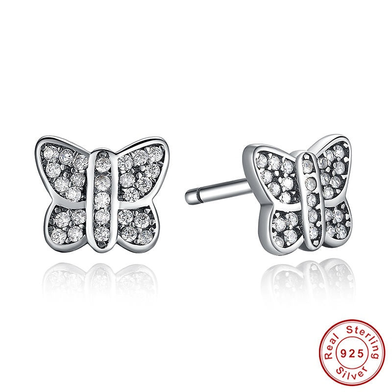 Freedom of Butterfly and Elegance of Diamonds like Crystals - Stud Earrings crafted from Silver