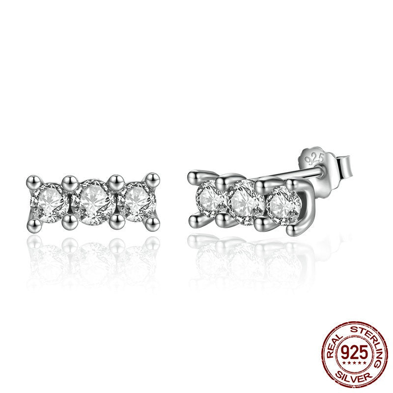 Gorgeously Sparkling Stud Earrings Crafted from Silver and Crystals